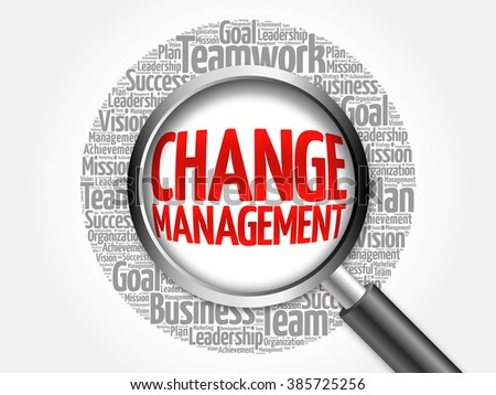 Change management word cloud with magnifying glass, business concept - stock photo