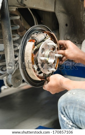 Change new brake pads - stock photo