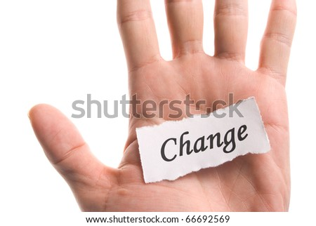 Change word in hand, word on piece tear paper