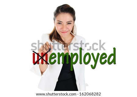 Change word of unemployed to employed for human resources concept - stock photo