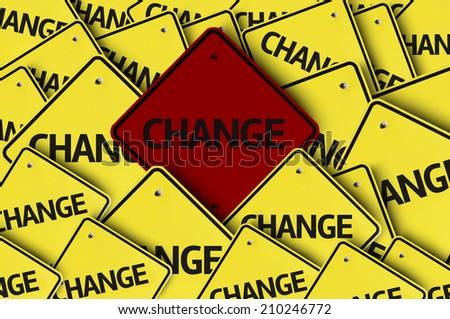 Change written on multiple road sign  - stock photo