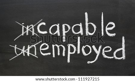 change your way of thinking to be employed concept handwritten on the school blackboard