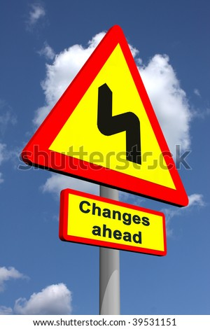 Changes ahead traffic sign featuring change management - stock photo