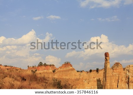 Changes in forest soil of ancient geography and the formation of landforms, China Yuanmou County - stock photo