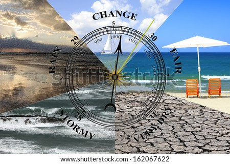 Changes of weather (collage of my photos) - stock photo