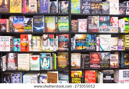 Changi, Singapore - January 13 2014: Books are displayed in a bookstore in Singapore airport.