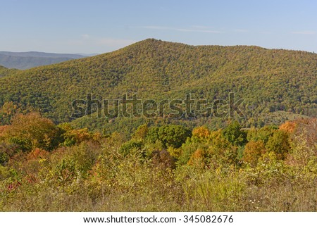 Changing Colors on a Mountain Ridge in Shenandoah National Park in Virgina  - stock photo