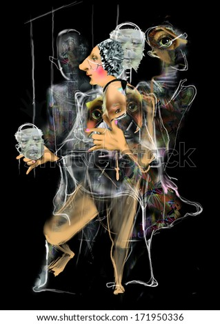 changing faces and personalities, psychology, split personality, marionettes, images, perception of reality, inner world, raster illustration over a black background - stock photo