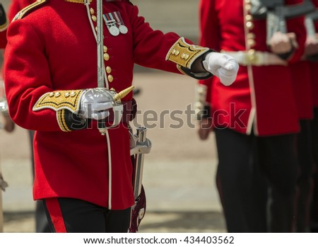 Changing of the guard in front of Buckingham palace, London - stock photo