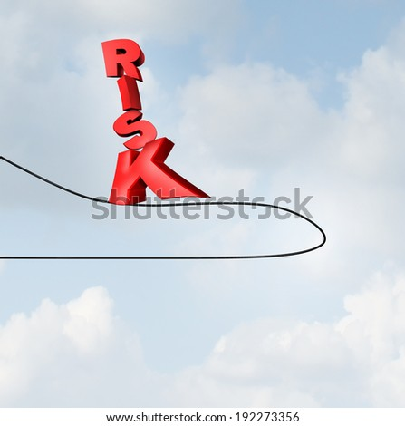 Changing risk direction business concept with text walking on a tightrope high wire that has changed direction as a balance metaphor for challenges and stress on the path to investment strategy. - stock photo