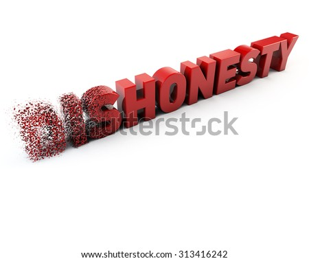 Changing the word dishonesty to honesty.  Fragment font. 3D render. Concept ideia - stock photo