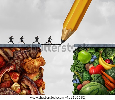 Changing to vegan and transition to vegetarian lifestyle as people running across a pencil drawing bridge from meat and greasy junk food to fruit and vegetables with 3D illustration elements.
