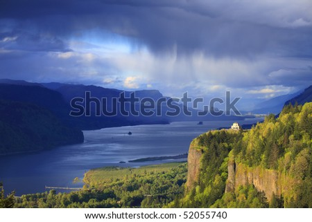 Changing weather in the Columbia Gorge, Oregon. - stock photo