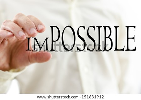 Changing word Impossible into Possible by minimizing letters un. - stock photo