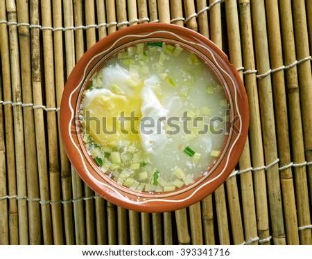 Changua Con Huevo Colombianapoached Egg Soupcolombian Stock Photo ...