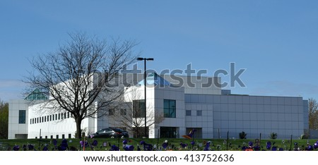 Chanhassen - May 1:  Paisley Park Studios as seen on May 1, 2016 , in Chanhassen, Minnesota.  Paisley Park was estate and studio on Prince Rogers Nelson. - stock photo