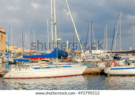 Chania. Fishing boats and yachts in the harbor.