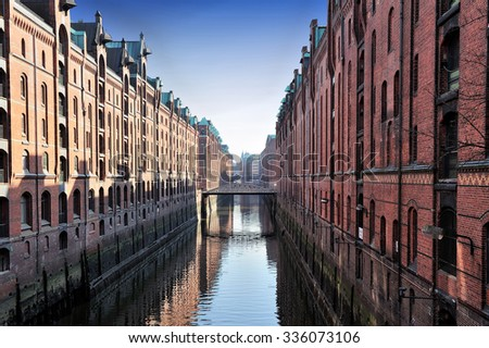 channel and bridges Kehrwieder-Brooksfleet, Hamburg, Germany - stock photo