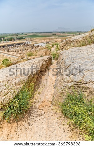 Channel detail of the ruins of old city Persepolis in Iran. - stock photo