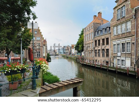 Channel in center of Ghent, Belgium in evening - stock photo