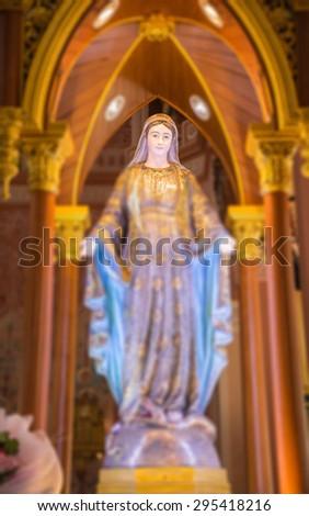 CHANTABURI,THAILAND - JULY 10 :The Virgin Mary statue in Catholic church Maephra Patisonti Niramon is located in Chantaburi province, Thailand at July 10,2015. - stock photo