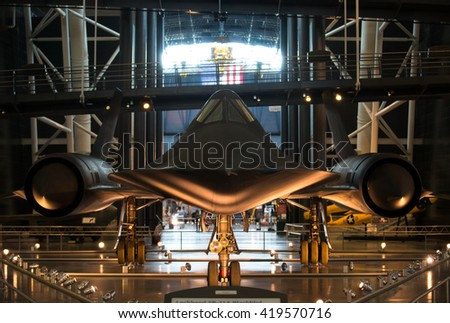 Chantilly VA - May 9, 2016: SR-71 / SR-71A Blackbird at the Udvar Hazy Museum. Developed by the Lockheed Skunk Works this spy plane operated during the Cold War,  it would cruise at Mach 3+.  - stock photo