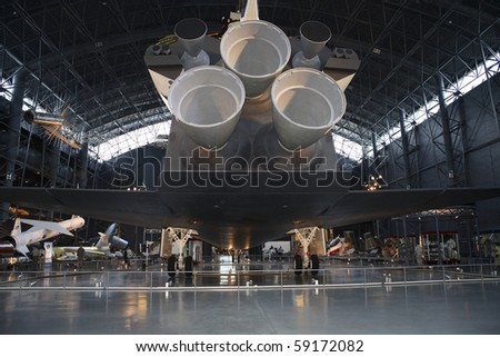 CHANTILLY, VIRGINIA - AUGUST 15: Space Shuttle Enterprise at the National Air and Space Museum's Steven F. Udvar-Hazy Center.   Photographed August 15, 2007 in Chantilly, Virginia. - stock photo