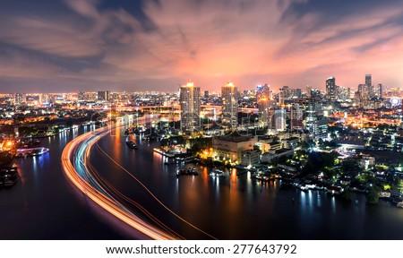 Chao Phraya river at night bangkok city - stock photo