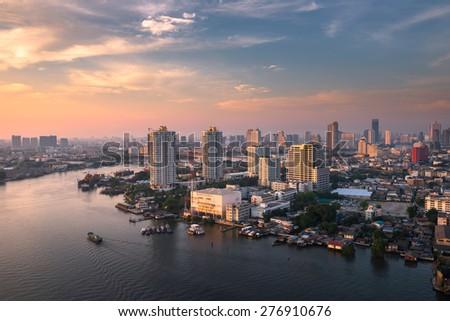 chao phraya river daylight - stock photo