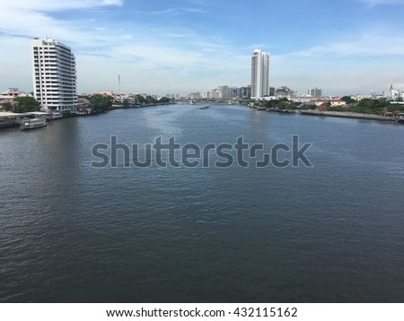 Chao Phraya River, one of main river in Thailand. This photo is taken on Rama 8 bridge in Bangkok.