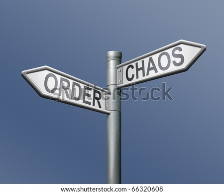 chaos order road sign on blue background butterfly effect - stock photo