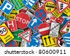 Chaotic collection of traffic signs from the United Kingdom - stock