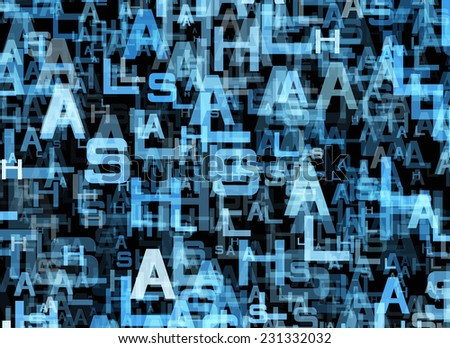 chaotic flying of many abstract blue alphabet letters - stock photo