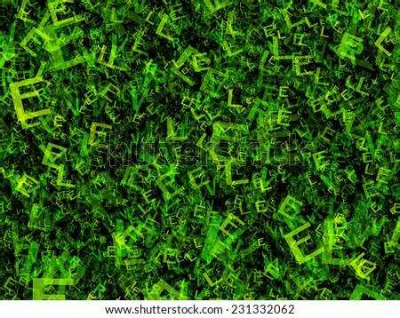 chaotic flying of many abstract green alphabet letters - stock photo