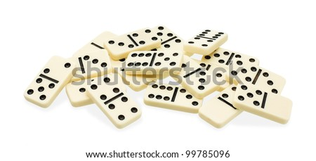 chaotic heap of domino on white background
