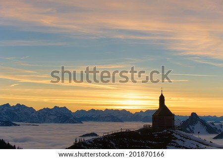 Chapel at mount Wallberg, a mountain near lake Tegernsee in Bavaria, Germany