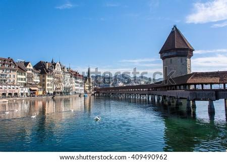 Chapel Bridge, Lucerne, Switzerland - stock photo