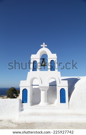 Chapel in Santorini Greece - stock photo