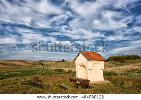 Chapel in the fields. Moravian Fields - an area called the Moravian Tuscany, Czech republic, Europe