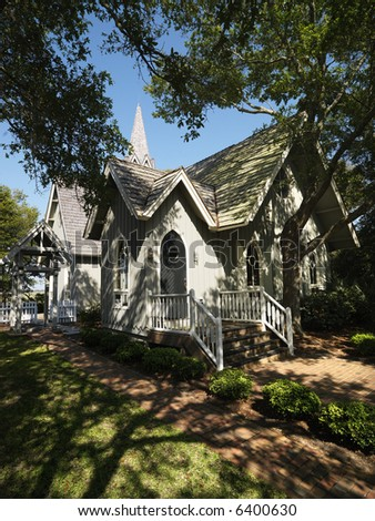 Chapel in trees at Bald Head Island, North Carolina. - stock photo