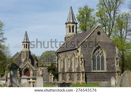 Chapel of rest. Two identical chapels in a cemetery in Portsmouth Hampshire.