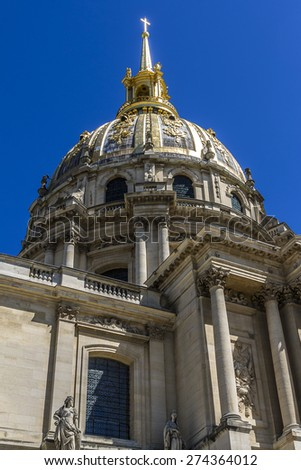 Chapel of Saint-Louis-des-Invalides (1679). Les Invalides is a complex of museums and monuments in Paris, as well as burial site for some of France's war heroes, notably Napoleon Bonaparte. France. - stock photo