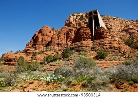 Chapel of the Holy Cross set among red rocks in Sedona, Arizona - stock photo