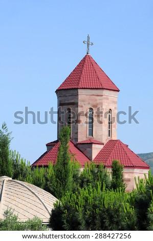 Chapel of the Holy Trinity Cathedral of Tbilisi, or Tsminda Sameba, in Georgia - stock photo