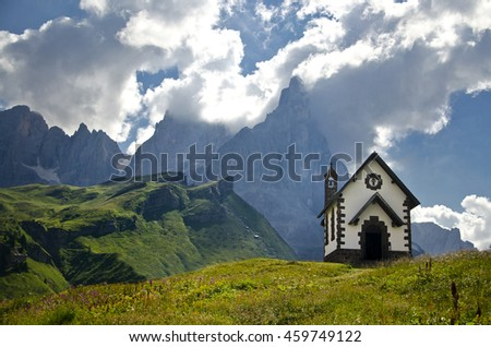 Chapel with Odle mountains in background, Gardena Valley, Dolomites, South Tyrol, Italy - stock photo
