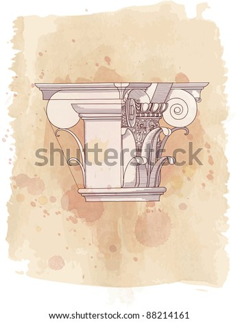 Chapiter- hand draw sketch composite architectural order & vintage watercolor background. Bitmap copy my vector id 87989020 - stock photo