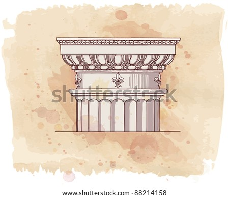 Chapiter- hand draw sketch doric architectural order & vintage watercolor background. Bitmap copy my vector id 87989044 - stock photo