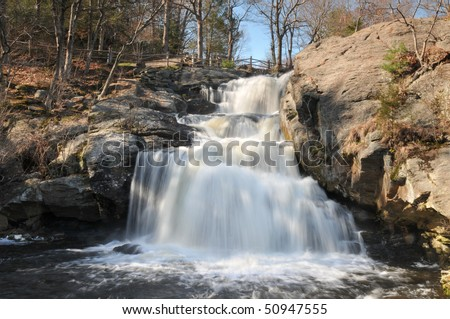 Chapman Falls in East Haddam, CT, on a spring day - stock photo