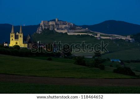 Chapter Spisska and Spissky Castle at night, Slovakia - stock photo