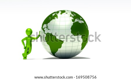 character and green globe